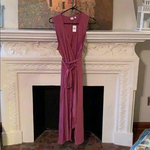 V neck mauve purple dress with tie waist.